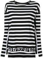 Lareida Striped Ruffle Hem Top - Black