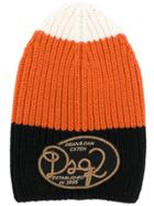 Dsquared2 Knitted Striped Beanie - Yellow & Orange