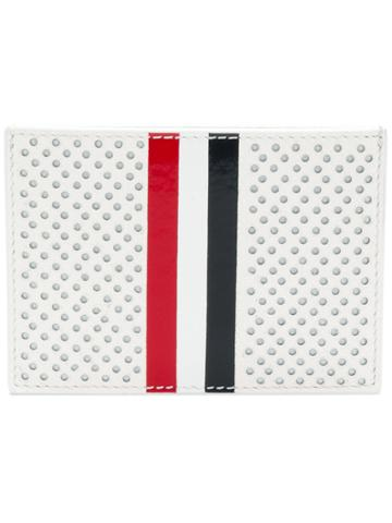 Thom Browne Single Card Holder With Red, White And Blue Vetrical
