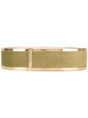 Balmain - Structured Waist Belt - Women - Calf Leather - L, Green, Calf Leather