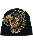 P.a.r.o.s.h. Sequin Embellished Knitted Hat - Black