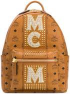 Mcm Studded Logo Backpack - Brown