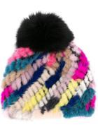 Jocelyn Pompom Beanie - Multicolour