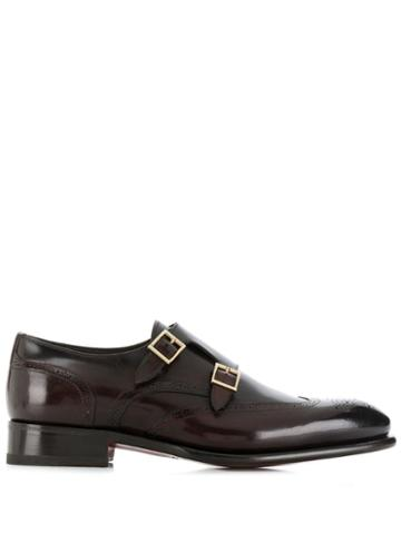 Santoni Buckled Oxford Shoes - Brown