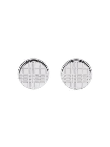 Burberry Palladium-plated Check-engraved Round Cufflinks - Silver