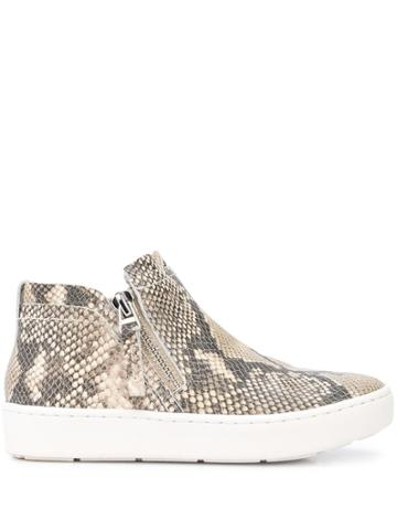 Dolce Vita Snakeskin Effect Side Zip Sneakers - Brown