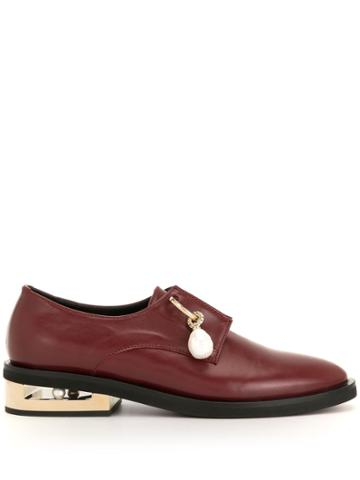 Coliac Pendant Detail Low-heel Loafers - Red