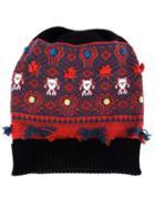 Barrie Cashmere Intarsia Knit Beanie, Women's, Black, Cashmere