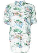 Bassike Beach Print Cut-out Shirt - White