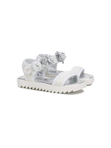 Simonetta Floral Appliqué Sandals - White