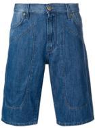 Jeckerson Stitched Panel Denim Shorts - Blue