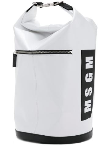 Msgm - Logo Bucket Bag - Women - Calf Leather/pvc - One Size, White, Calf Leather/pvc