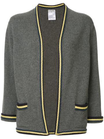 Chanel Vintage Striped Pattern Cardigan - Grey
