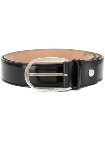 Salvatore Ferragamo - Curved Buckle Belt - Men - Calf Leather - 100, Black, Calf Leather