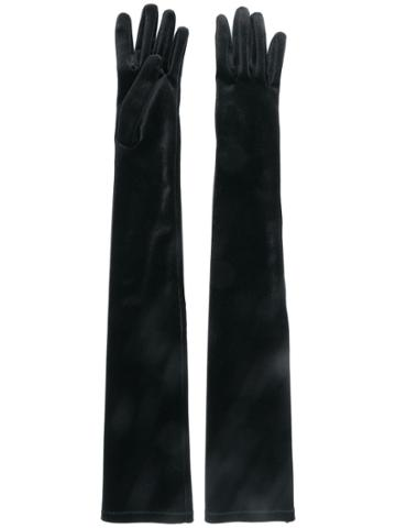 Alberta Ferretti Velvet Elbow Length Gloves - Black