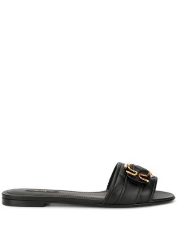 Dolce & Gabbana Quilted Slide Sandals - Black