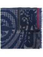 Etro Houndstooth Pattern Scarf, Adult Unisex, Blue, Wool
