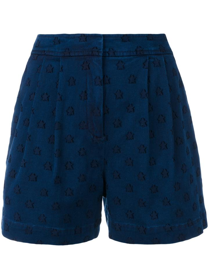 Chinti & Parker Star Embroidered Denim Shorts - Blue