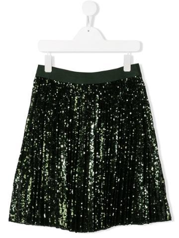 Monnalisa Teen Pleated Sequin Skirt - Green