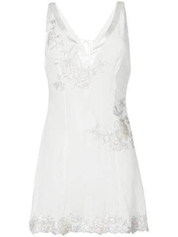 La Perla - Embroidered Slip Top - Women - Silk/spandex/elastane - 1, White, Silk/spandex/elastane