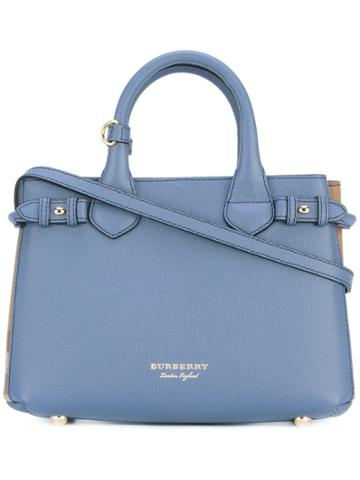 Burberry The Small Banner In Leather And House Check - Blue