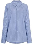 Blindness Pearl Sleeve Stripe Shirt - Blue