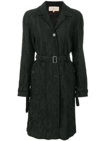 Romeo Gigli Vintage Pleated Belted Coat - Black