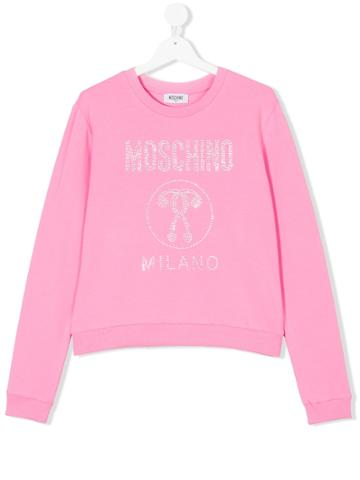 Moschino Kids Teen Embellished Logo Sweatshirt - Pink & Purple