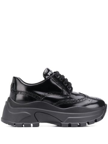 Prada Chunky Lace-up Brogues - Black