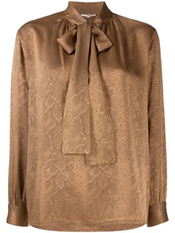 Yves Saint Laurent Pre-owned 1970's Snakeskin Print Pussy Bow Blouse -