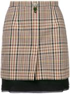 No21 Checked Mini Skirt - Nude & Neutrals