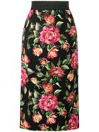 Dolce & Gabbana Floral Print Pencil Skirt - Black