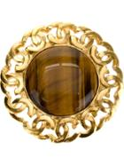 Chanel Vintage Logo Border Cabochon Brooch, Women's, Metallic