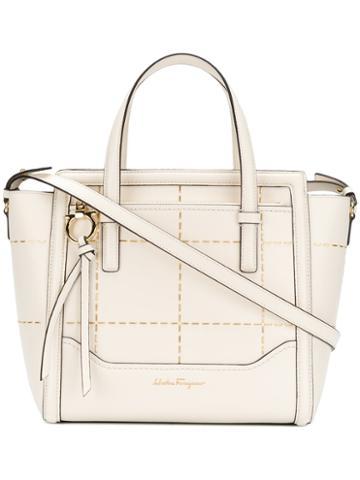 Salvatore Ferragamo - Studded Tote Bag - Women - Calf Leather - One Size, White, Calf Leather