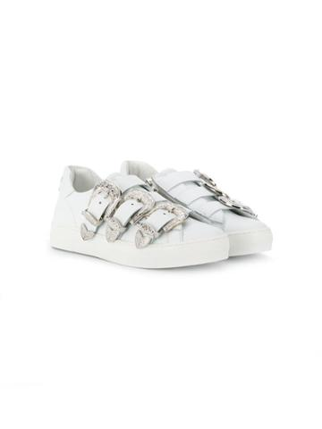 Dsquared2 Kids Teen Buckle Straps Lo-top Sneakers - White