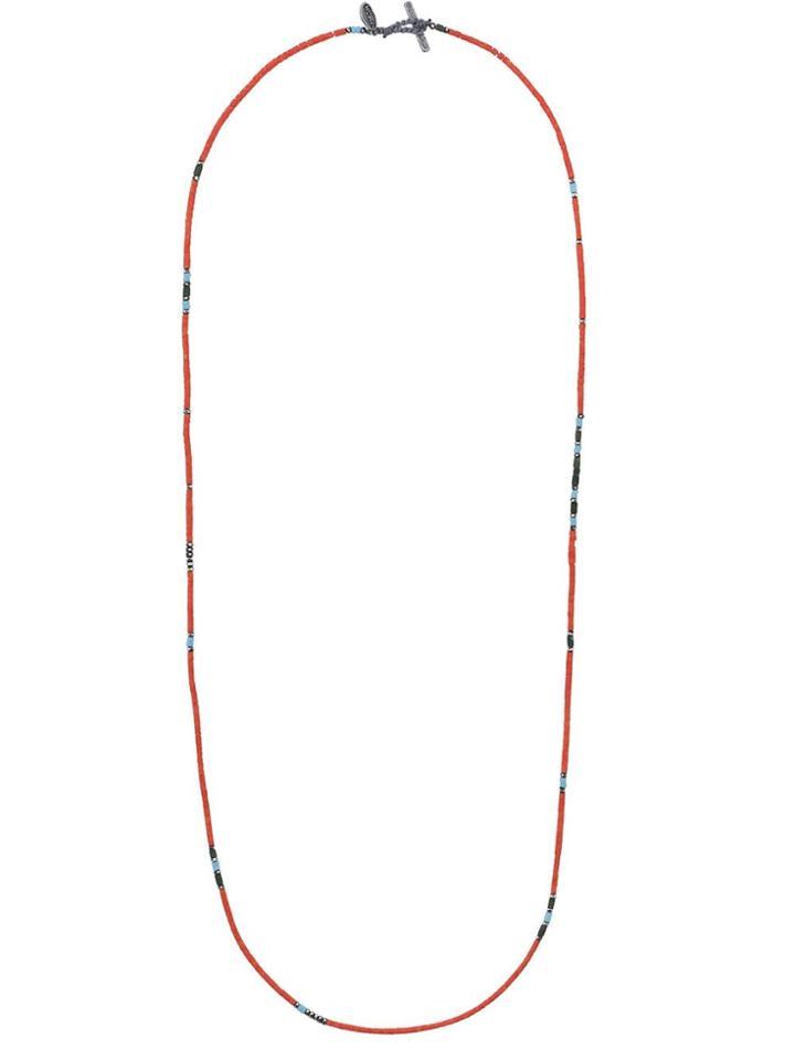 M. Cohen Orange Bead Embellished Silver Necklace