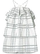 Msgm Layered Ruffle Check Dress - White