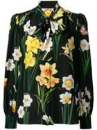 Dolce & Gabbana Floral Print Pussybow Blouse - Black