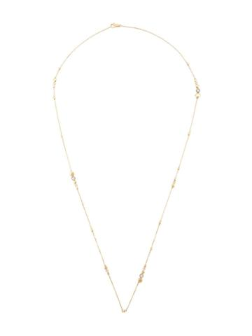John Hardy 18kt Yellow Gold Dot Hammered Diamond Station Necklace