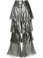 Osman Lamé Tiered Trousers - Metallic
