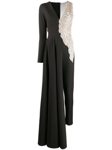 Loulou Asymmetric Beaded Jumpsuit - Black