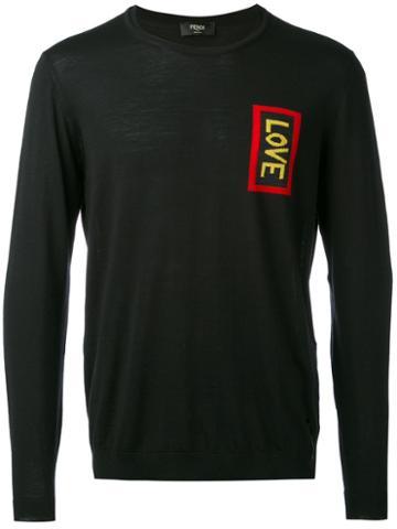 Fendi - Love Embroidered Sweater - Men - Virgin Wool - 52, Black, Virgin Wool