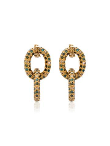 Carolina Bucci 18k Yellow Gold Chain Earrings - Green