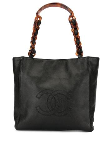 Chanel Pre-owned Quilted Cc Logos Hand Bag - Black