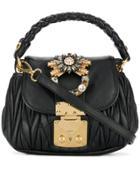 Miu Miu Matelassé Embellished Bag - Black