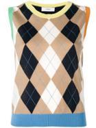 Pringle Of Scotland Argyle Knit Sleeveless Sweater - Blue
