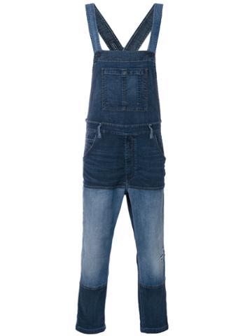 Diesel - Patched Denim Dungarees - Men - Cotton/polyester/spandex/elastane - S, Blue, Cotton/polyester/spandex/elastane