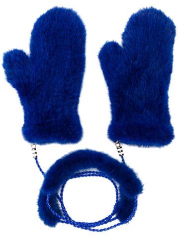 Liska - Fur Mittens With Chain Link - Women - Mink Fur - One Size, Blue, Mink Fur
