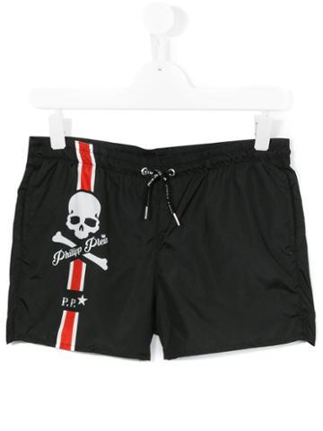 Philipp Plein Kids Logo Print Swim Shorts, Boy's, Size: 14 Yrs, Black