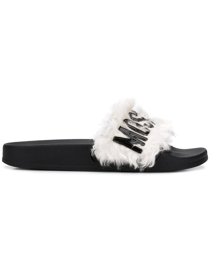 Moschino Logo Furry Slippers - White